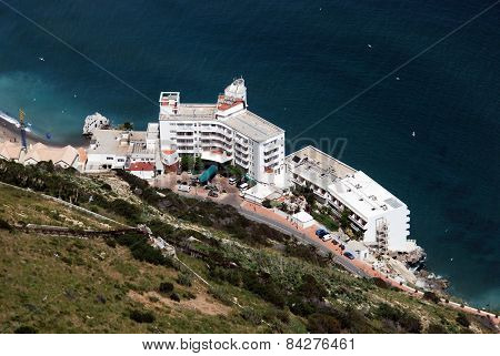 Elevated view of hotel, Gibraltar.