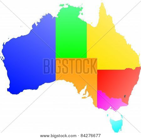 Australia - color map of the regions