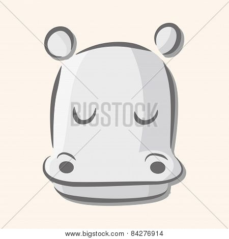 Animal Hippo Flat Icon Elements, Eps10