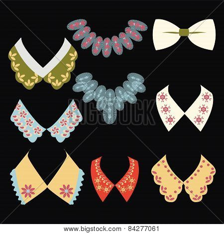 Vintage Style Collars On Black Background