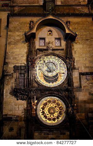 Astronomical Clock in Night