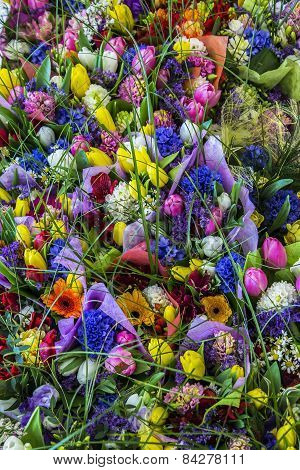background texture of bouquet of colorful flowers