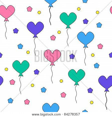 Seamless pattern with flying heart-shaped balloons