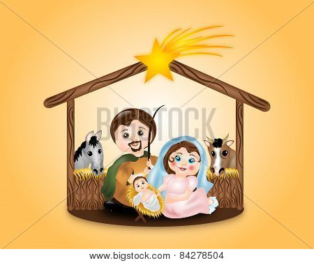 Virgin Mary, St. Joseph And Baby Jesus In Creche