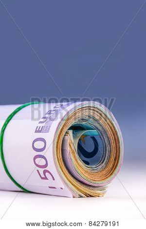 Rolled euro banknotes several thousand.Free space for your economic information