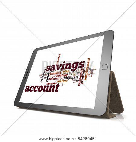 Savings Account Word Cloud On Tablet