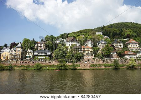 Quay Of Neckar River In Heidelberg In Summer