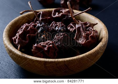 Dried Pears In A Bowl On Slate