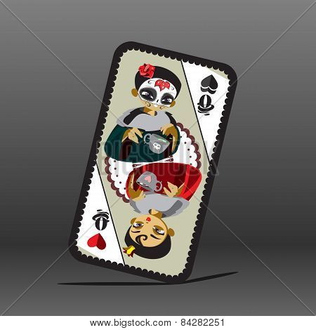 Poker card with queen
