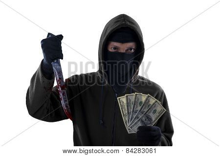 Burglar Hold Bloody Knife And Dollar