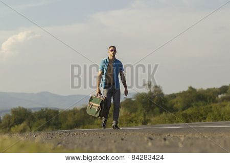 Sexy Guy Iwalkinh On The Road With Travel Bag