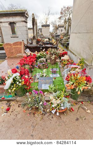 Grave Of Cartoonist Bernard Verlhac In Paris