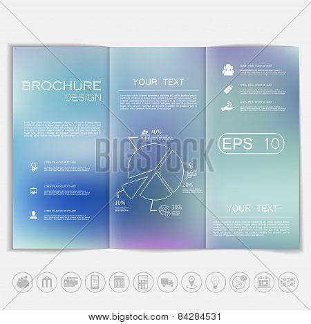 Tri-fold Brochure Mock Up Vector Design. Smooth Unfocused Bokeh Background.