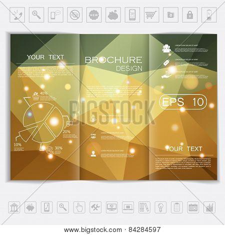 Tri-fold Brochure Mock Up Design. Polygonal Background With Shiny Elements.