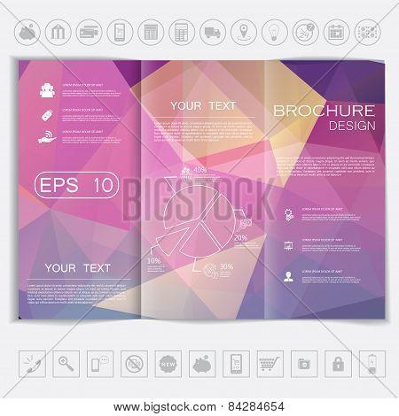 Tri-fold Brochure Mock Up Vector Design. Polygonal Background Background.