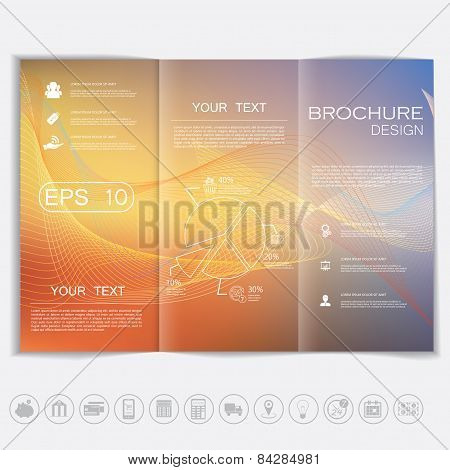 Tri-fold Brochure Mock Up Vector Design. Smooth Unfocused Bokeh Background With Waves.