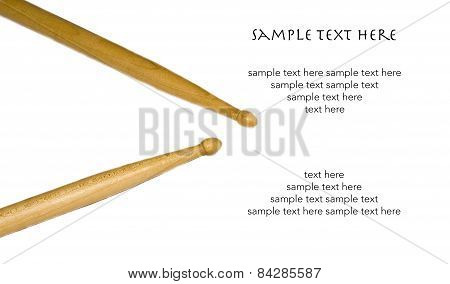 Isolated Drum Sticks With Text On White Background