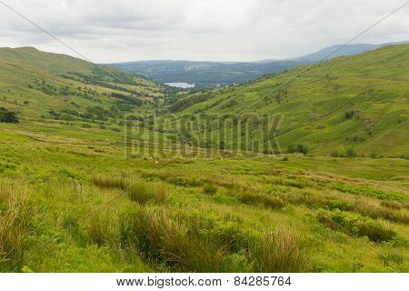 Kirkstone Pass view towards Grasmere by Kirkstone Pass Inn Lake District England UK