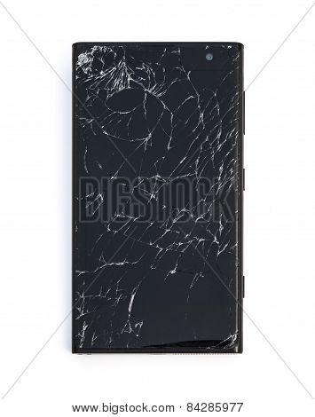 Top View Mobile With Broken Screen