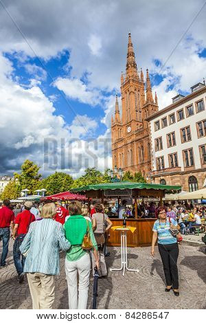 People Enjoy The Market At Central Market Place In Wiesbaden