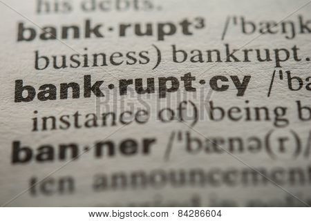 Definition of the word bankruptcy