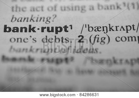 Definition of the word bankrupt