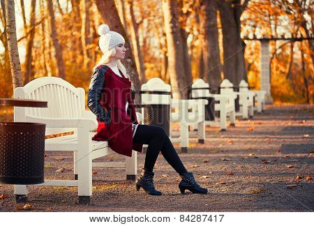 Blonde Young Woman In Posing