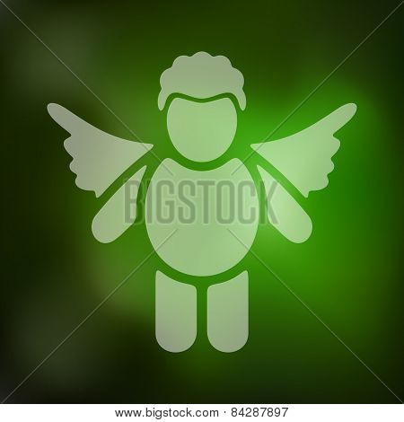 angel icon on blurred background