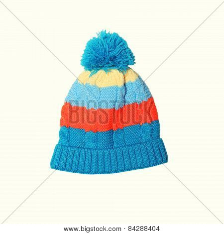Bright Knitted Hat On A White Background