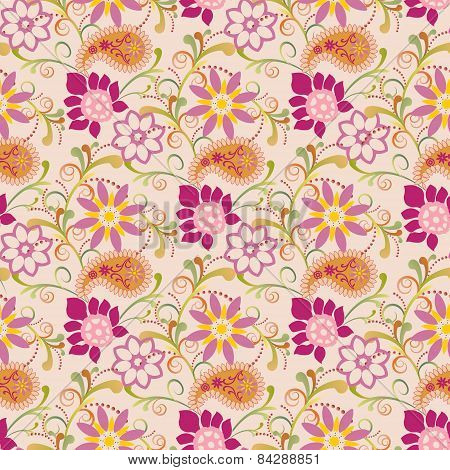 Floral Summer With Paisley Pattern