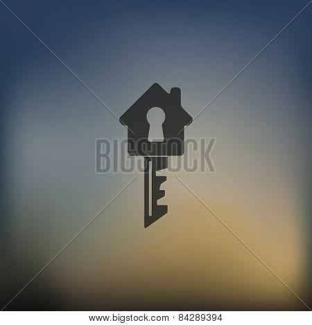 key icon on blurred background