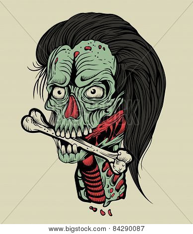 Illustration zombie head with a bone.