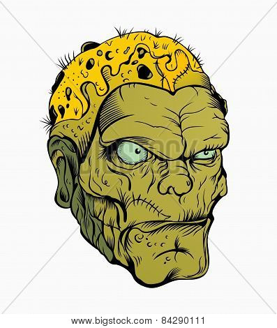 Picture of scary zombie head.