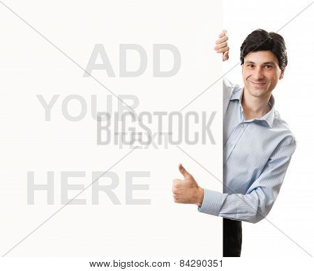 Businessman Thumbs Up Behind Blank Banner