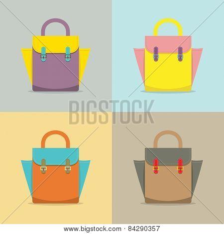 Set Of Colorful Women Bag.