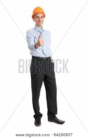 Full Length Portrait Of Young Engineer
