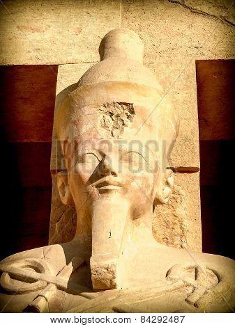 Statue Of Hatshepsut Outside His Temple At Deir El-bahari (egypt