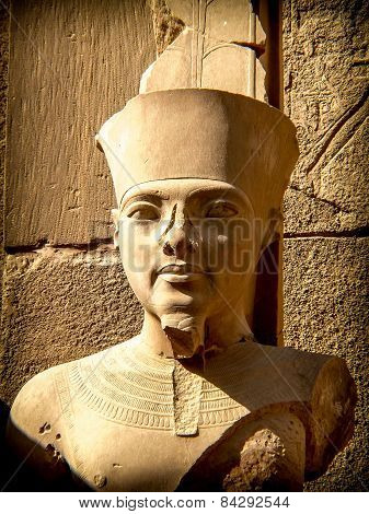 Bust Of Pharaoh Tutankhamun In Karnak Temple (luxor, Egypt)