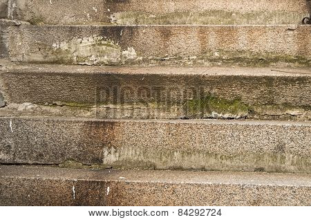 Old weathered stone staircase