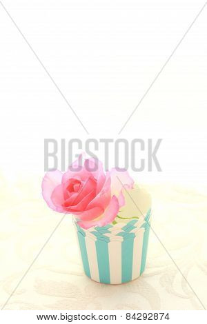 Pink Rose In A Muffin Cup, Vintage Style