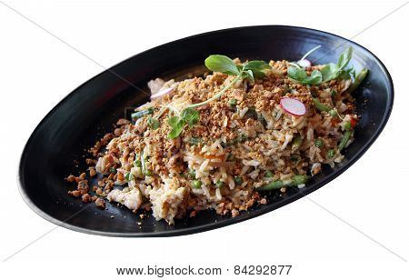 Meat Salad With Vegetables And Rice