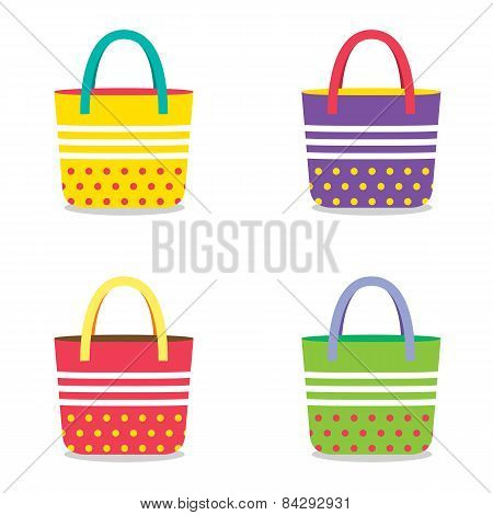 Set Of Colorful Handbags.