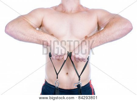 Muscular Man With Expander Isolated On White Background