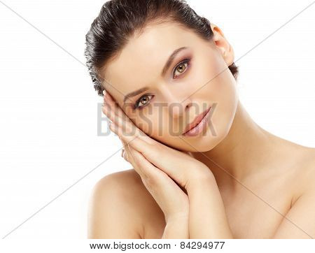 Beautiful Face of Young Woman with Clean Fresh Skin close up isolated on white. Beauty Portrait. Bea