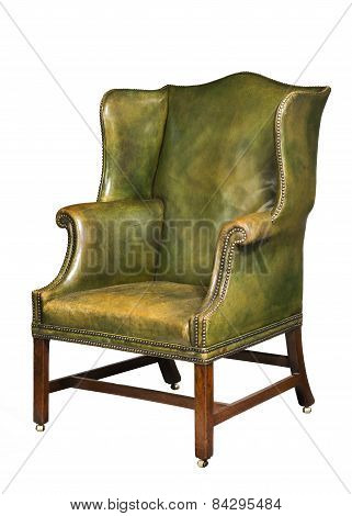 Antique Leather Wing Chair Isolated