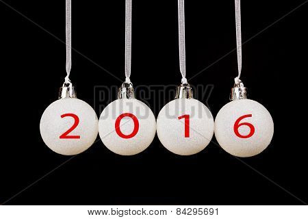 White christmas balls with new year 2016