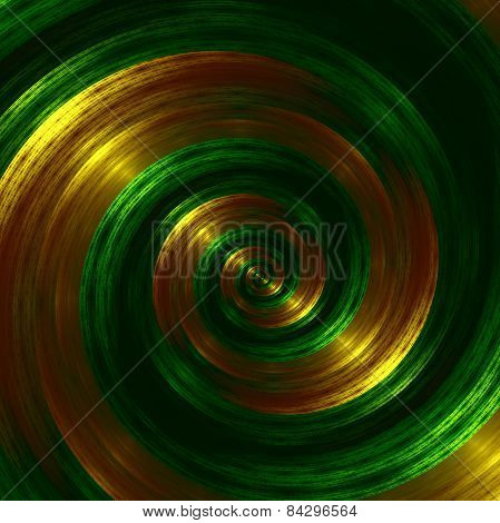 Artistic green fractal spiral. Abstract hypnotic background. Golden swirl effect. Creative style.