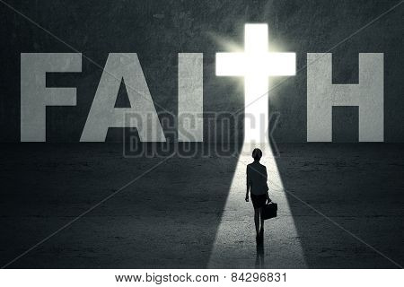 Woman Stands In Faith Door