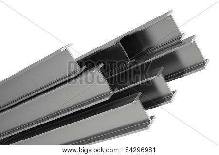 stainless steel profiles on a white background.