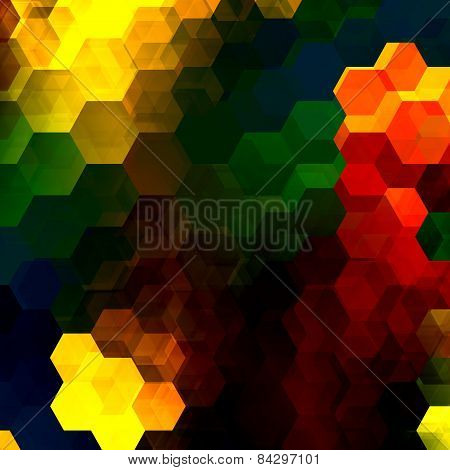 Colorful hexagon mosaic. Abstract overlapping hexagons. Decorative artistic background. Modern art.